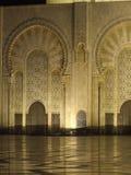 Gran mezquita en Casablanca en la noche Imágenes de archivo libres de regalías