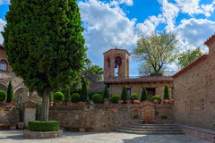 Gran monasterio de Meteora - patio, Thessaly, Grecia Fotos de archivo