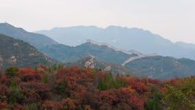 Gran Muralla de Badaling en el fin de semana en otoño Foto de archivo libre de regalías