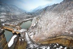 Gran Muralla en nieve fotografía de archivo libre de regalías