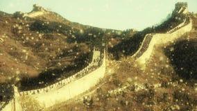 Gran Muralla, ingeniería antigua de la defensa de China almacen de video