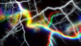 Gran numero di fulmini variopinti che colpiscono dappertutto rappresentazione 3d Immagine Stock Libera da Diritti