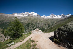Gran Paradiso. Landscape from the cross of Arolley Valsavaranche in the Gran Paradiso National Park (Valle d'Aosta). On the bottom the summit of Gran Paradiso (4 Stock Image