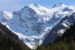 Gran Paradiso Massif seen from Cogne. Valle D`Aosta Royalty Free Stock Image