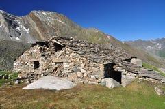Gran Paradiso national park. Aosta Valley, Italy. Old stone mountain hut in the Gran Paradiso national park. Aosta Valley, Italy Royalty Free Stock Image