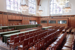 Gran pasillo de la justicia - sitio de la corte de ICJ imagen de archivo