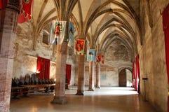 Gran Pasillo medieval, castillo de Huniards fotografía de archivo libre de regalías