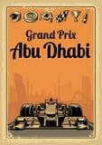 Gran Premio d'annata Abu Dhabi del manifesto Fotografia Stock Libera da Diritti