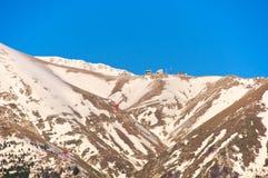 Gran Sasso, Campo Imperatore, Cabelway i Hotelowy widok, l'Aquila, Włochy Fotografia Stock