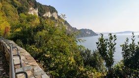 Gran Sasso on Lake Lagomaggiore, Italy stock photo