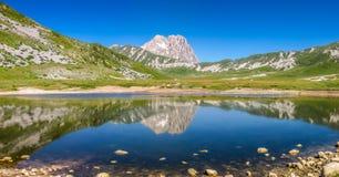 Gran Sasso mountain summit at Campo Imperatore plateau, Abruzzo, Italy Royalty Free Stock Photos