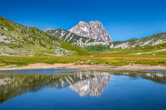 Gran Sasso mountain summit at Campo Imperatore plateau, Abruzzo, Italy Royalty Free Stock Photos