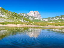Gran Sasso mountain summit at Campo Imperatore plateau, Abruzzo, Italy Stock Photos