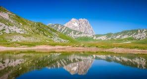 Gran Sasso mountain summit at Campo Imperatore plateau, Abruzzo, Italy Stock Image