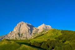 An overview that captures the mountain chain Gran Sasso located in the National Park Gran Sasso in Prati di Tivo,Teramo province,A. Gran Sasso mountains chain stock photos