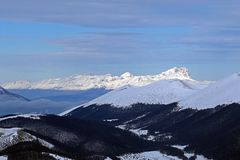 Gran sasso. A view of the gran sasso mountains from the mount marsicano in abruzzo national park in italy royalty free stock image
