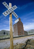 Gran Silo near Railroad Crossing stock image