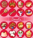 Gran sistema de dulces y de pasteles Imagen de archivo