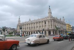 Gran Teatro de La Habana- Great Theater of Havana with Classic cars in foreground Stock Photo