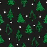 Gran-träd och stjärnor för handattraktiongräsplan på svart bakgrund vektor illustrationer