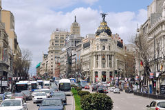 Gran tramite via a Madrid Fotografia Stock Libera da Diritti