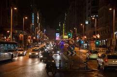 Gran vía  night traffic Royalty Free Stock Photos