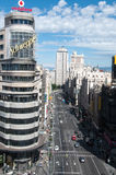 Gran vía en Madrid Imagen de archivo libre de regalías