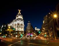 Gran vía la calle en Madrid, España Fotografía de archivo