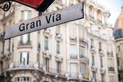 Gran vía placa de calle en Madrid Fotografía de archivo libre de regalías