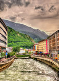 The Gran Valira flowing in Andorra. La Vella Stock Photos