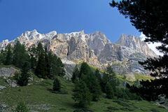 Gran Vernel and Marmolada from Contrin Valley Royalty Free Stock Photography