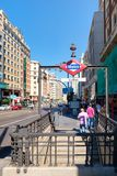 Gran Via avenue and the Callao subway station in central Madrid Stock Photos