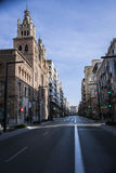 Gran via with Church of Sacred Heart of Jesus Royalty Free Stock Photos