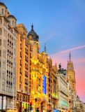 Gran Via in the evening - Madrid, Spain Royalty Free Stock Image