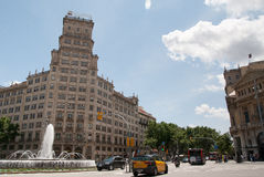 Gran Via and  Fountain in Barcelona Spain Stock Image