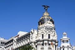 Gran via gebouwen, Madrid Royalty-vrije Stock Foto