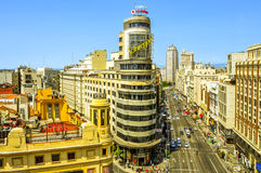 Gran via i Madrid, Spanien Royaltyfri Bild