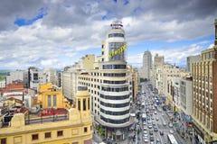 Gran via, Madird, Cityscape van Spanje Royalty-vrije Stock Fotografie