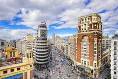 Gran via, Madird, paesaggio urbano della Spagna fotografie stock libere da diritti