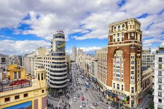 Gran Via, Madrid, Spain Cityscape Royalty Free Stock Photos