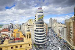 Gran Via, Madird, Spain Cityscape Royalty Free Stock Photography