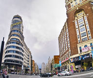 Gran Via in Madrid Stock Images