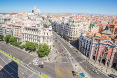 Gran Via Madrid. Aerial view of Gran Via, main shopping street in Madrid, capital of Spain, Europe Royalty Free Stock Image