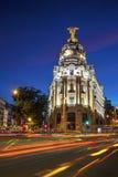 Gran via in Madrid bij nacht Royalty-vrije Stock Afbeeldingen
