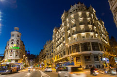 Gran Via in Madrid, night scene. Night scene of famous Gran Via street in Madrid, Spain royalty free stock photography