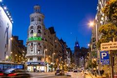 Gran Via in Madrid, night scene. Night scene of famous Gran Via street in Madrid, Spain Stock Photos