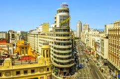 Gran via in Madrid, Spagna Immagine Stock Libera da Diritti