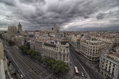 Gran Via Madrid Spain. The lively street is one of the city's most important shopping areas, with a large number of hotels and large movie theaters; it is also Royalty Free Stock Photos