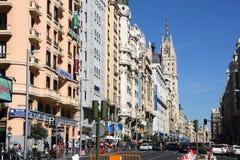 Gran Via, Madrid. MADRID, SPAIN - SEPTEMBER 2, 2009: People walk along Gran Via, the most famous street in Madrid, Spain. Madrid is the Spanish capital city with stock images