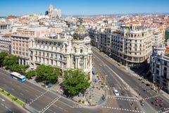 Gran via Madrid Spanje royalty-vrije stock afbeeldingen